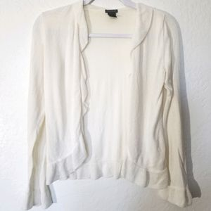 Ann Taylor | Cream Ruffled Cardigan Sweater Sz S